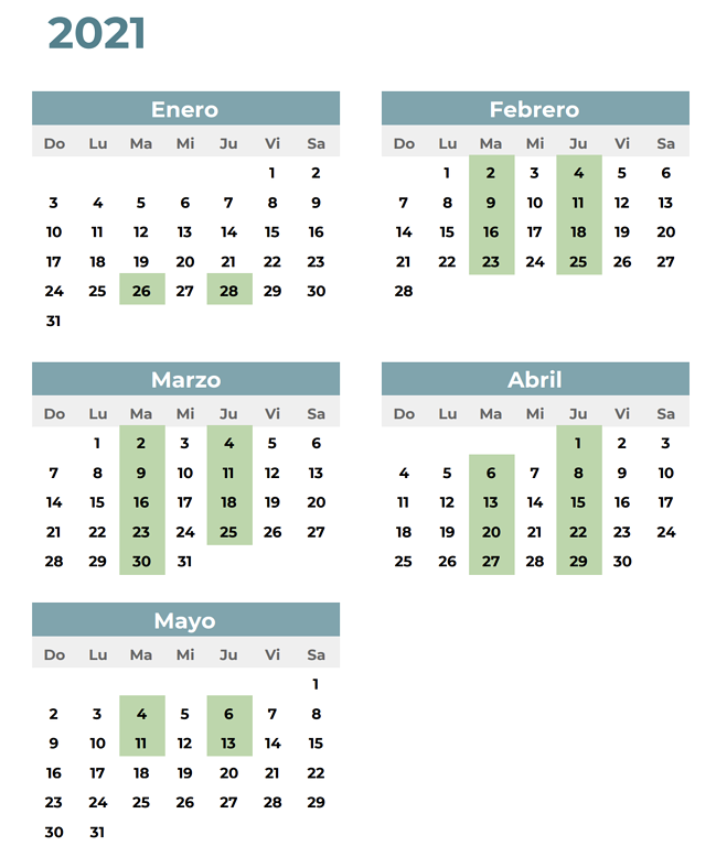 ICC Spanish 5 Calendar